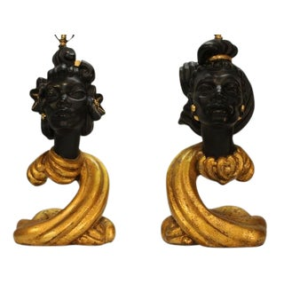 Exceptional Pair of Plaster Blackamoor Lamps For Sale
