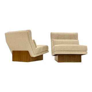 Milo Baughman Lounge Chairs on Walnut Plinths For Sale