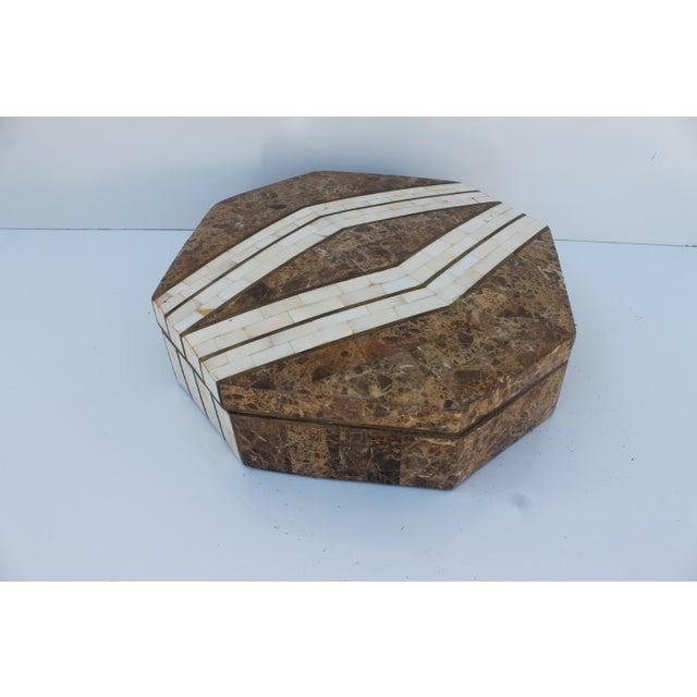 Maitland-Smith Octagonal Stone & Bone Box - Image 7 of 8