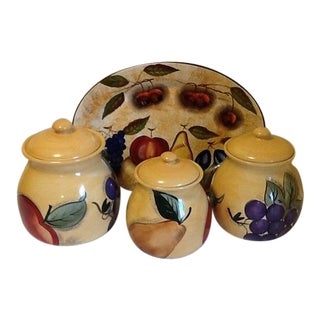 Ceramic Canisters With Serving Platter - Set of 4 For Sale