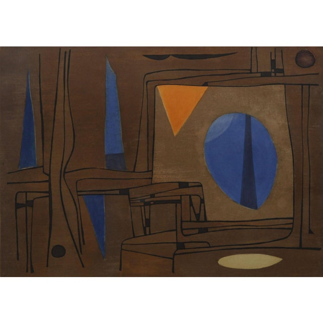 1960s Brown, Blue, and Orange Abstract Print - Image 3 of 5