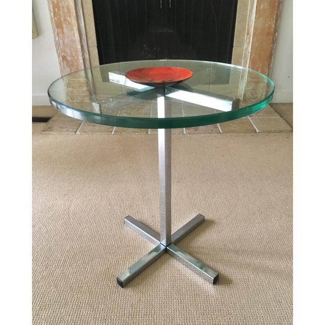 Mid-Century Modern Mid Century Chrome and Glass Coffee / Side Table For Sale - Image 3 of 5
