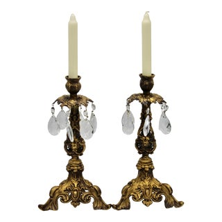 French Art Nouveau Brass and Crystal Cut Glass Candlesticks- a Pair For Sale