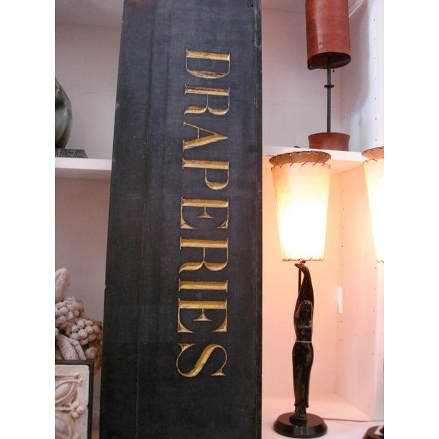 19th Century French Textile Shop Sign in Gilded Black Slate - Image 2 of 5