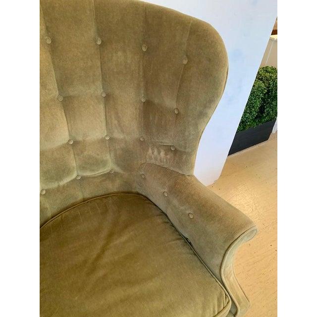 Vintage Tufted Sage Green Velvet Barrel Back Wing Chair For Sale - Image 10 of 12