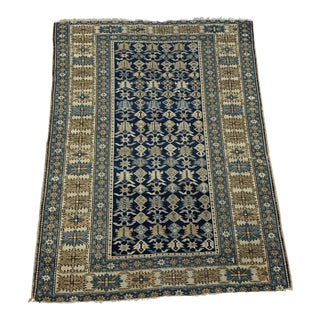 Late 19th Century Antique Russian Caucasian Rug- 3′10″ × 5′3″ For Sale