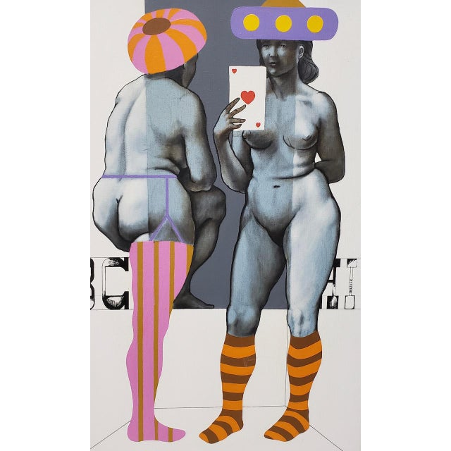 Arne Besser (American, B.1935) Two Hearts Original Oil Painting C.1970 For Sale - Image 9 of 11