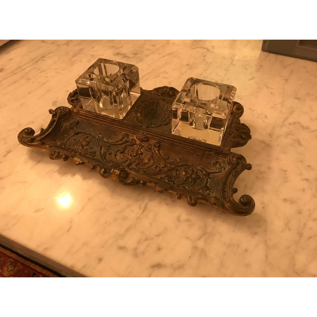 English Antique Gold Gilt, Cast Iron Double Inkwell, With Pen Tray For Sale - Image 3 of 7