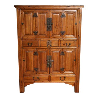 Large Late 19th Century Pine Cabinet With Original Butterfly Hardware From China For Sale