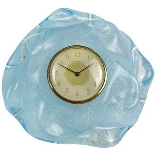 Seguso Vetri d'Arte Murano Blue Pulegoso Bubbles Italian Art Glass Deco Desk Clock For Sale