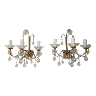 1900 French Baroque Clear Murano Drops Micro Beaded Crystal 3 Lights Sconces - a Pair For Sale