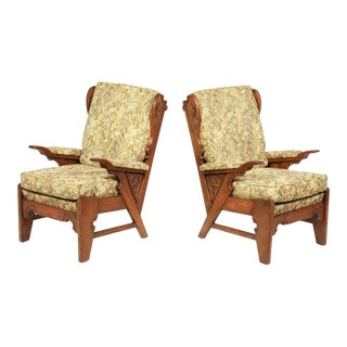 1930's French Neo-Gothic-Style Armchairs S/2 For Sale
