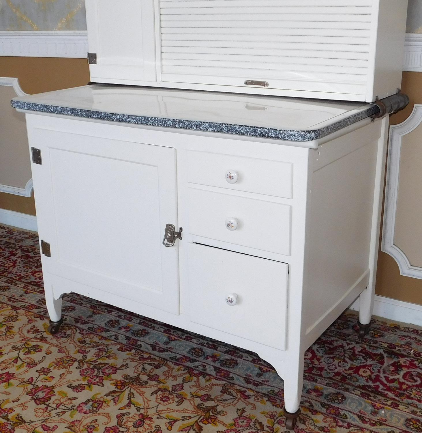 Antique Sellers Restored Painted White Hoosier Kitchen