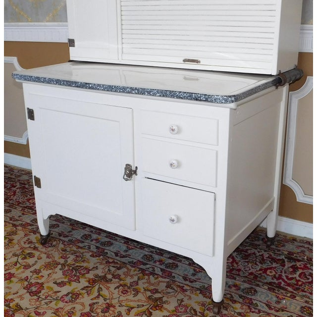 Antique Sellers Restored Painted White Hoosier Kitchen Cabinet C1890 For Sale - Image 4 of 13
