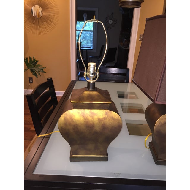 Vintage Bronze Urn Lamps - A Pair - Image 4 of 5