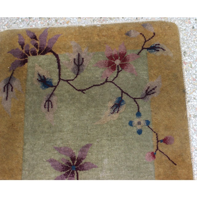 Antique 1924 Nichols Wool Rug Tientsin North China Flowers Motif For Sale In West Palm - Image 6 of 10