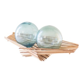 Blue Japanese Fishing Floats | Blue Glass | Pair of Two For Sale