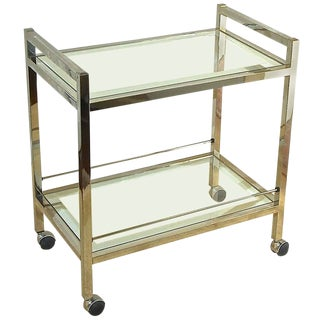 1970s Vintage Modern Chrome Two-Tier Bar Cart For Sale