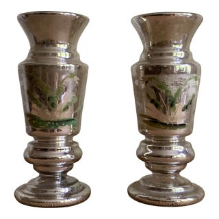 Antique Hand-Painted Mercury Glass Vases - a Pair For Sale