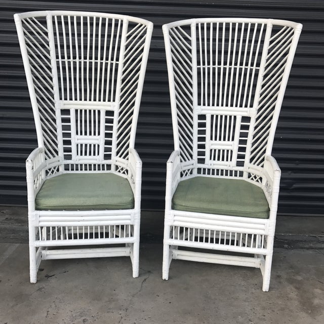 Vintage Rattan High Back Chairs - a Pair - Image 2 of 11