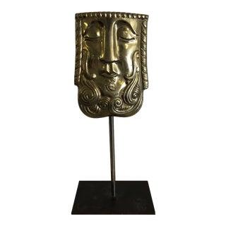 Mid-Century Modern Sarreid Ltd Brass Face on Iron Bronze Stand