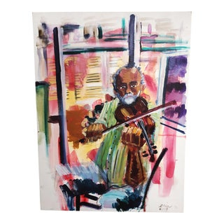 Oil Painting of Male Violinist For Sale