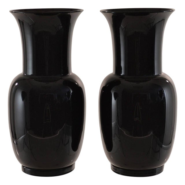 Pair of Venini Signed Black Glass Urns, 1978 For Sale