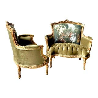 French Louis XVI Style Corbeille Loveseats- A Pair For Sale