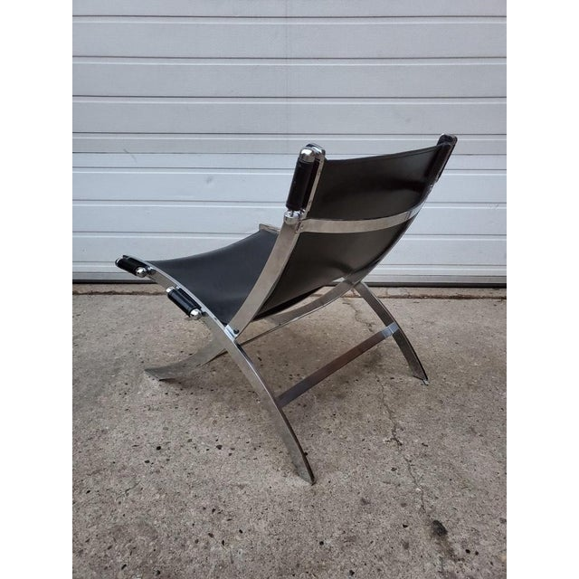 Black Mid Century Modern Antonio Citterio for Flexform Chrome and Leather Lounge Chair For Sale - Image 8 of 10