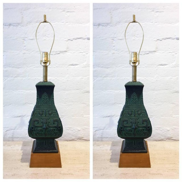 Bronze Table Lamps in the Manner of James Mont - A Pair - Image 4 of 9