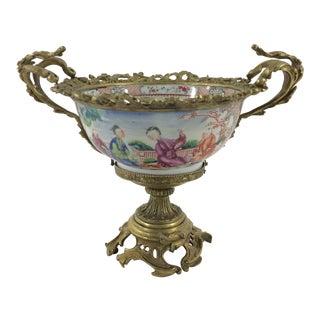 19th Century Mandarin Bowl mounted in Bronze
