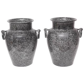 1950s Mid-Century Modern Glazed Pottery Planters - a Pair For Sale