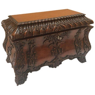 1990s Maitland-Smith Carved Mahogany Hinged Tea Caddy Box For Sale