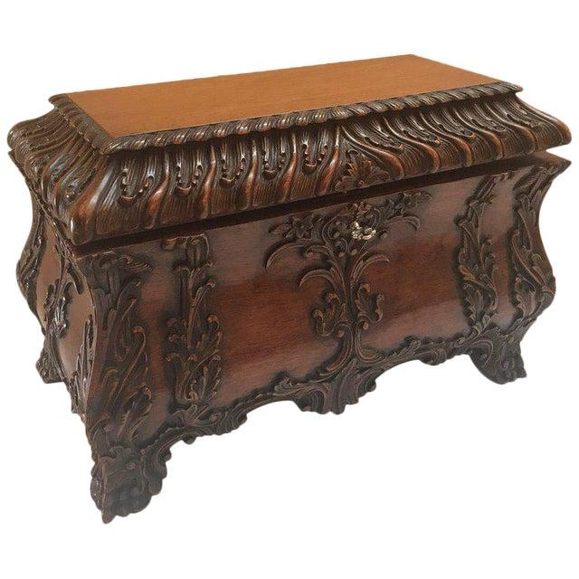 1990s Maitland-Smith Carved Mahogany Hinged Tea Caddy Box For Sale