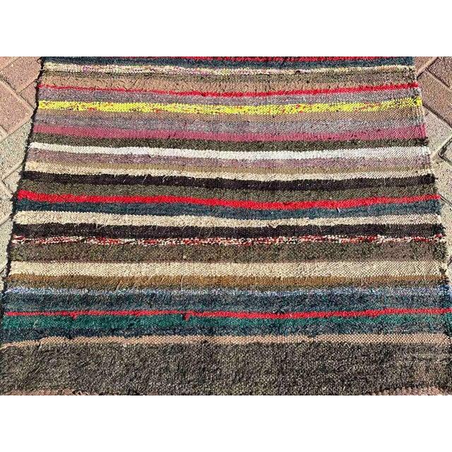 1960s Vintage Striped Turkish Kilim Rug For Sale - Image 5 of 10
