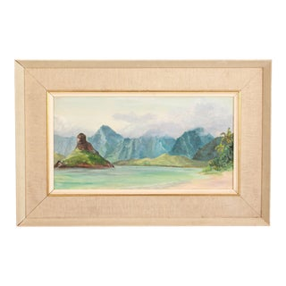 Vintage Tropical Cove Beach Seascape Oil on Board Painting For Sale