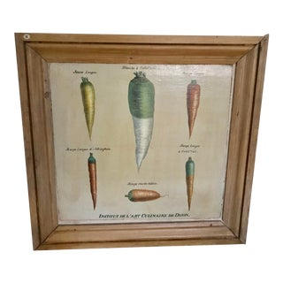 Vintage French Vegetable Chart Oil Painting, Framed