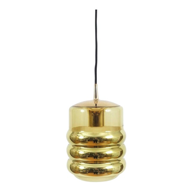 Three Staff Golden Glass Pendant Lamps with Black Cord Wire, 1970 For Sale