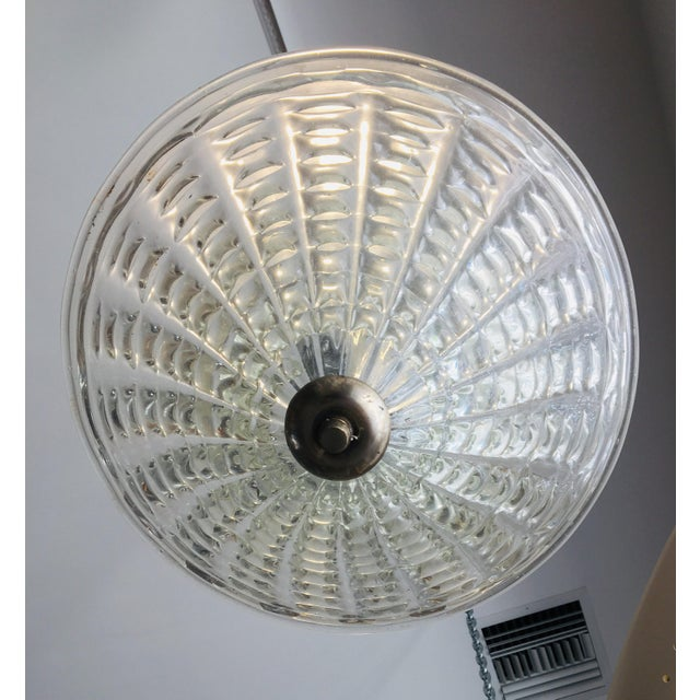 Beautiful old transparent Murano glass pendant light fixture by Barovier. The fixture is umbrella like in profile with...