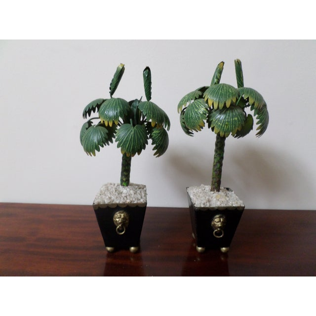 Pair of Hand-Painted Tole Palm Trees in Neoclassical Pots For Sale - Image 12 of 12