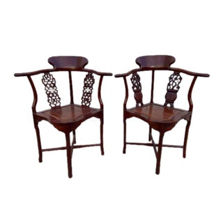 Antique Rosewood Hand Carved Oriental Corner Chairs - Pair For Sale