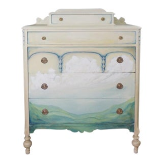 Victorian Upright Handpainted Dresser For Sale