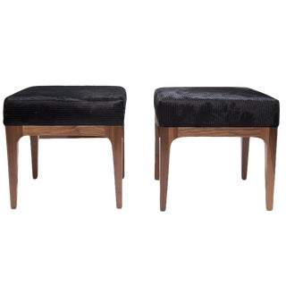 Pair of Raphael Ottoman in Walnut & Cowhide Seat Cushion For Sale