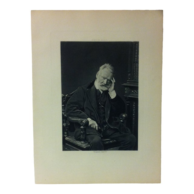 """Antique Black & White Engraving on Paper -- """"Victor Hugo"""" -- Goupil & Company, Circa 1880 For Sale"""