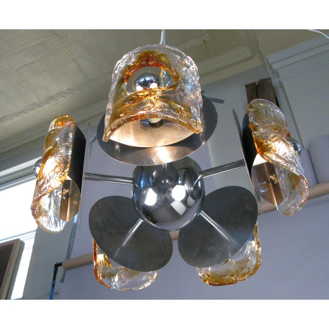 1960s 1960s Italian Glass & Chrome Murano Chandelier For Sale - Image 5 of 9