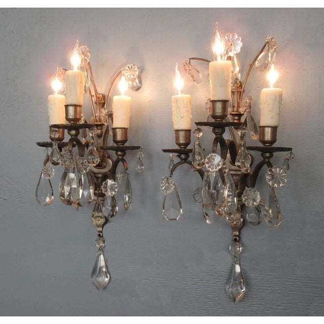 Brass Pair of Mid-19th Century Italian Baroque Silvered Bronze and Crystal Sconces For Sale - Image 7 of 8