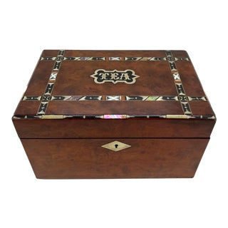 Walnut Tea Caddy With Geometrical Exotic Inlays and Enamaling, English, Ca. 1870 For Sale