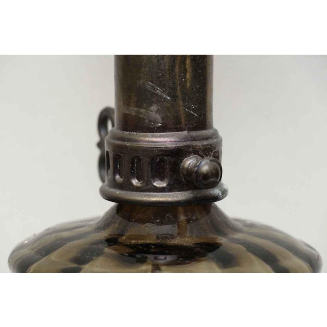 American Classical Vintage Brown Glass Oil Lamp Style Electrified Table Lamp For Sale - Image 3 of 13