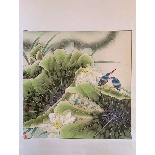 Original contemporary Chinese scroll painting of two bluebirds sitting on a lotus pad by artist Chen Mei.. Painting size:...