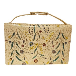 Vintage Italian Clutch With Hand Tooled Detail For Sale
